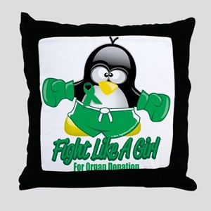 Organ Donation Fighting Pengu Throw Pillow