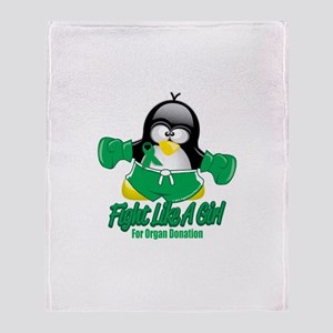 Organ Donation Fighting Pengu Throw Blanket