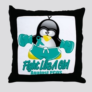PCOS Fighting Penguin Throw Pillow