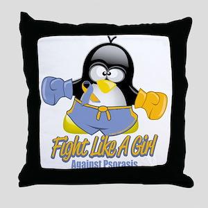 Psoriasis Fighting Penguin Throw Pillow
