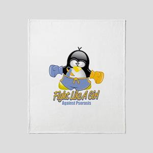 Psoriasis Fighting Penguin Throw Blanket