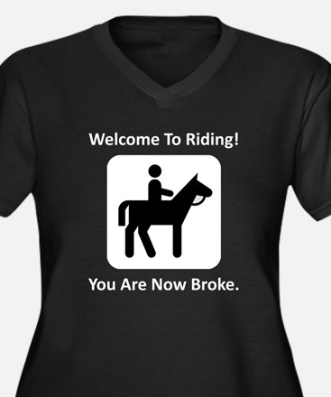 Welcome To Riding! Women's Plus Size V-Neck Dark T