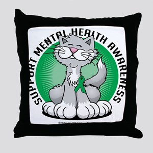Mental Health Cat Throw Pillow