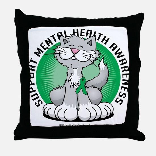 Mental Health Cat Throw Pillow