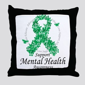 Mental Health Ribbon of Butte Throw Pillow