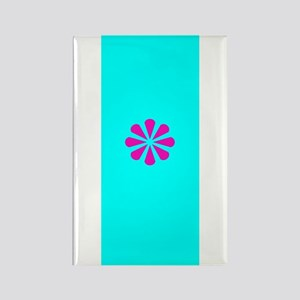 Colorful Floral Pink & Turquoise Rectangle Mag