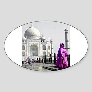 Woman at Taj Mahal Sticker (Oval)