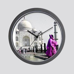 Woman at Taj Mahal Wall Clock
