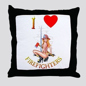 I Love Firefighters Throw Pillow