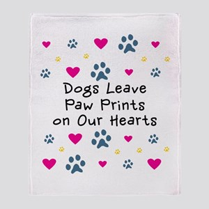 Dogs Leave Paw Prints Throw Blanket