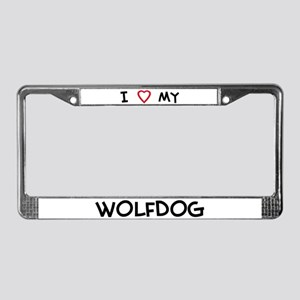 I Love Wolfdog License Plate Frame