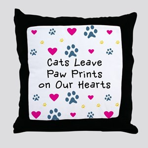 Cats Leave Paw Prints Throw Pillow