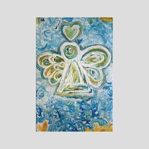 Golden Blue Guardian Angel Rectangle Magnet