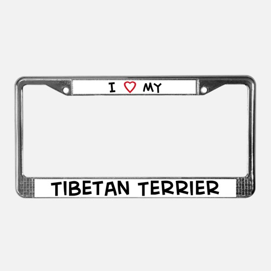 I Love Tibetan Terrier License Plate Frame