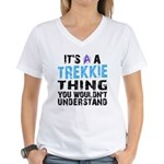 Trekkie Thing Blue Women's V-Neck T-Shirt