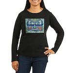 Folk Art Mask Women's Long Sleeve Dark T-Shirt