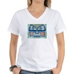 Folk Art Mask Women's V-Neck T-Shirt