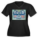 Folk Art Mask Women's Plus Size V-Neck Dark T-Shir
