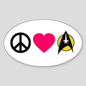 Peace Love Trek Sticker (Oval)