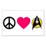 Peace Love Trek Sticker (Rectangle)