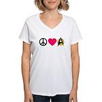 Peace Love Trek Women's V-Neck T-Shirt