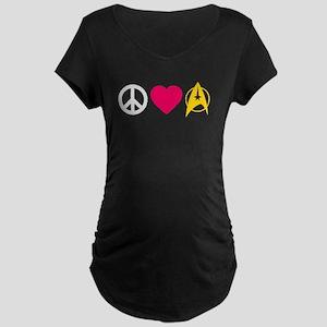 Peace Love Trek Maternity Dark T-Shirt