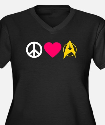 Peace Love Trek Women's Plus Size V-Neck Dark T-Sh