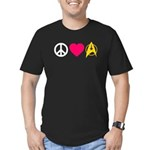 Peace Love Trek Men's Fitted T-Shirt (dark)