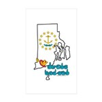 ILY Rhode Island Sticker (Rectangle 50 pk)