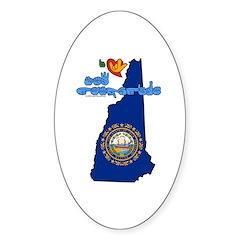 ILY New Hampshire Sticker (Oval)
