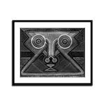 Joyful Mask B&W Framed Panel Print