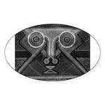 Joyful Mask B&W Sticker (Oval)