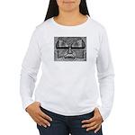 Folk Art Mask in B&W Women's Long Sleeve T-Shirt