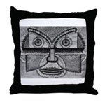 Folk Art Mask in B&W Throw Pillow