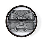 Folk Art Mask in B&W Wall Clock