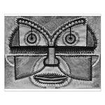 Folk Art Mask in B&W Small Poster