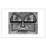 Folk Art Mask in B&W Large Poster