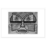 Folk Art Mask in B&W Large Poster