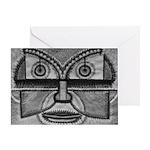Folk Art Mask in B&W Greeting Card