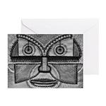 Folk Art Mask in B&W Greeting Cards (Pk of 20)