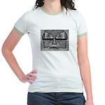 Folk Art Mask in B&W Jr. Ringer T-Shirt