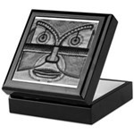 Folk Art Mask in B&W Keepsake Box