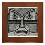 Folk Art Mask in B&W Framed Tile
