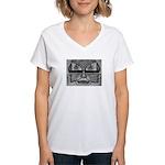 Folk Art Mask in B&W Women's V-Neck T-Shirt
