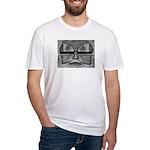 Folk Art Mask in B&W Fitted T-Shirt