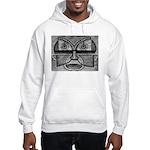 Folk Art Mask in B&W Hooded Sweatshirt