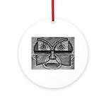 Folk Art Mask in B&W Ornament (Round)