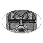 Folk Art Mask in B&W Sticker (Oval)