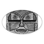 Folk Art Mask in B&W Sticker (Oval 50 pk)