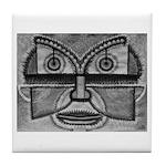 Folk Art Mask in B&W Tile Coaster